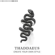 Lange Zwarte Snake Ring,Thomas Stijl Hart Vintage Goede Jewerly Voor Meisjes Vrouwen, 2020 Ts Gift In 925 Sterling Zilver, Super Deals