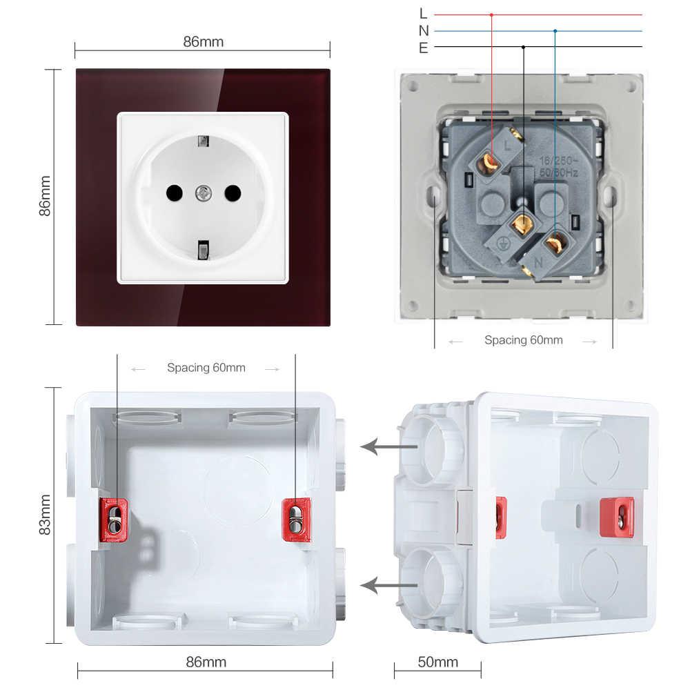SRAN 벽 크리스탈 유리 패널 전원 소켓 플러그 접지, 16A EU 표준 전기 콘센트 86mm * 86mm