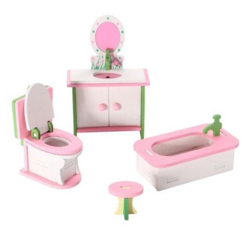 EatingBiting(R) Miniature Dolls House Wooden Bathroom Furniture Kid Children Play Toys 4Pc Set