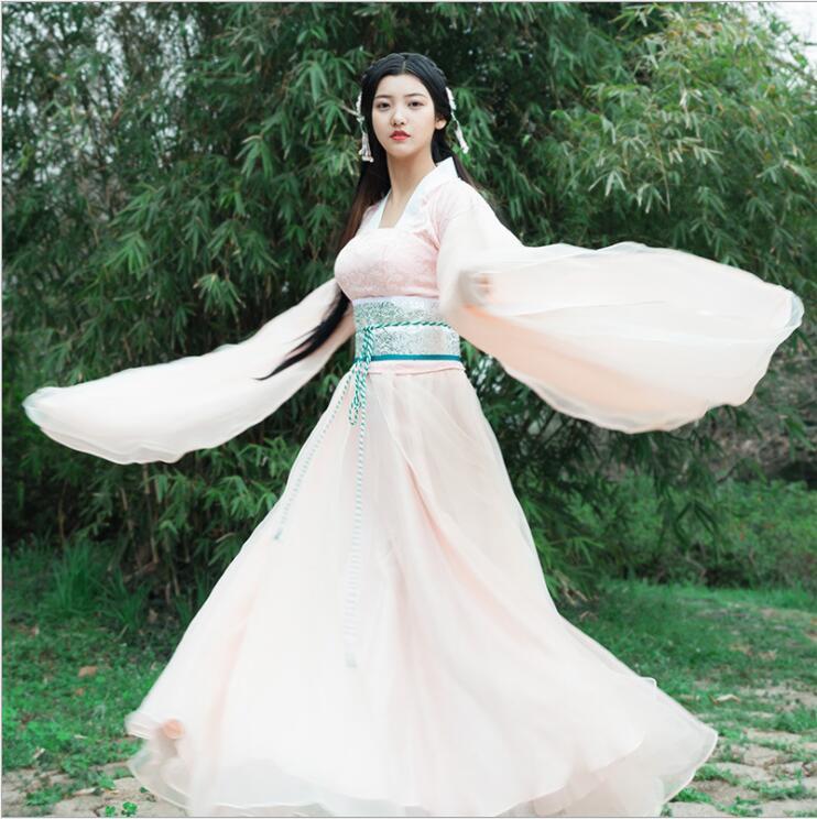 Unique Show stage costume China National Minority Large Sleeve Clothing Chinese Ancient costume TV Film same style Hanfu Dress