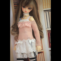 BYBJDHOME Clothes for dolls Neck necklace + Off the shoulder skirt + Pleated sling + Lace skirt + Black and white stockings