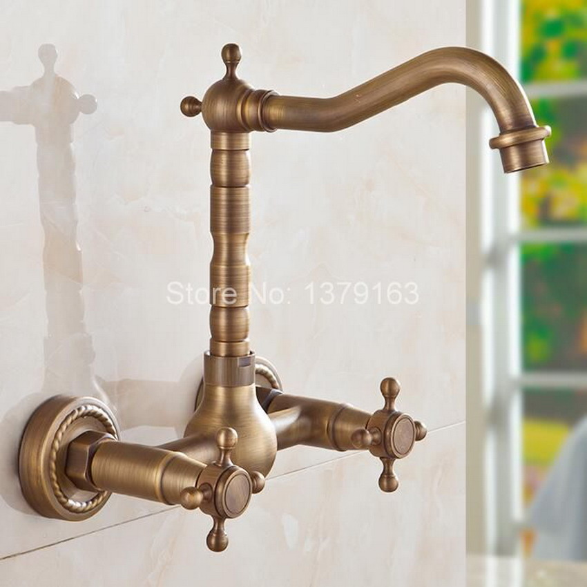 Antique Brass Wall Mounted Dual Cross Handles Swivel Kitchen Bathroom Sink Basin Faucet Mixer Tap anf052 antique bronze wall mounted dual cross handles swivel kitchen bathroom sink basin faucet mixer tap anf257