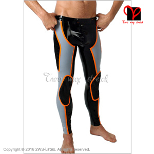 Sexy Latex Pants with trims Skinny Rubber tights Gummi Bottom leggings Trousers bottoms jeans plus size XXXL men KZ-069
