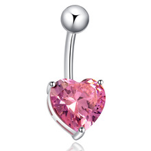 Free Shipping Hot Fine Piercing Navel Belly Ring With Heart Pink Cubic Zirconia White Gold-Color Fashion Piercing Jewelry Body
