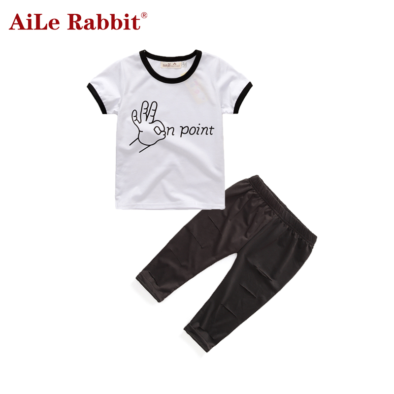 AiLe Rabbit <font><b>Trend</b></font> Europe style Special design girls clothing sets fashion letters white T-shirt + hole trousers 2PCS children