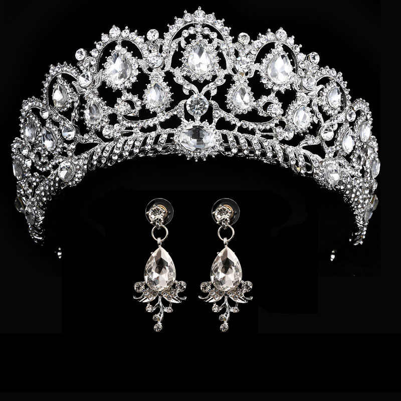 wedding crown queen bridal Tiaras bride crown with earrings headband Wedding  Accessories diadem mariage hair jewelry ornaments