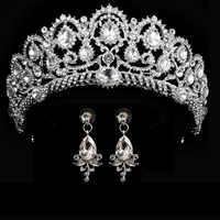 Couronne de mariage reine diadèmes de mariée couronne de mariée avec boucles d'oreilles bandeau accessoires de mariage diadème mariage bijoux de cheveux ornements