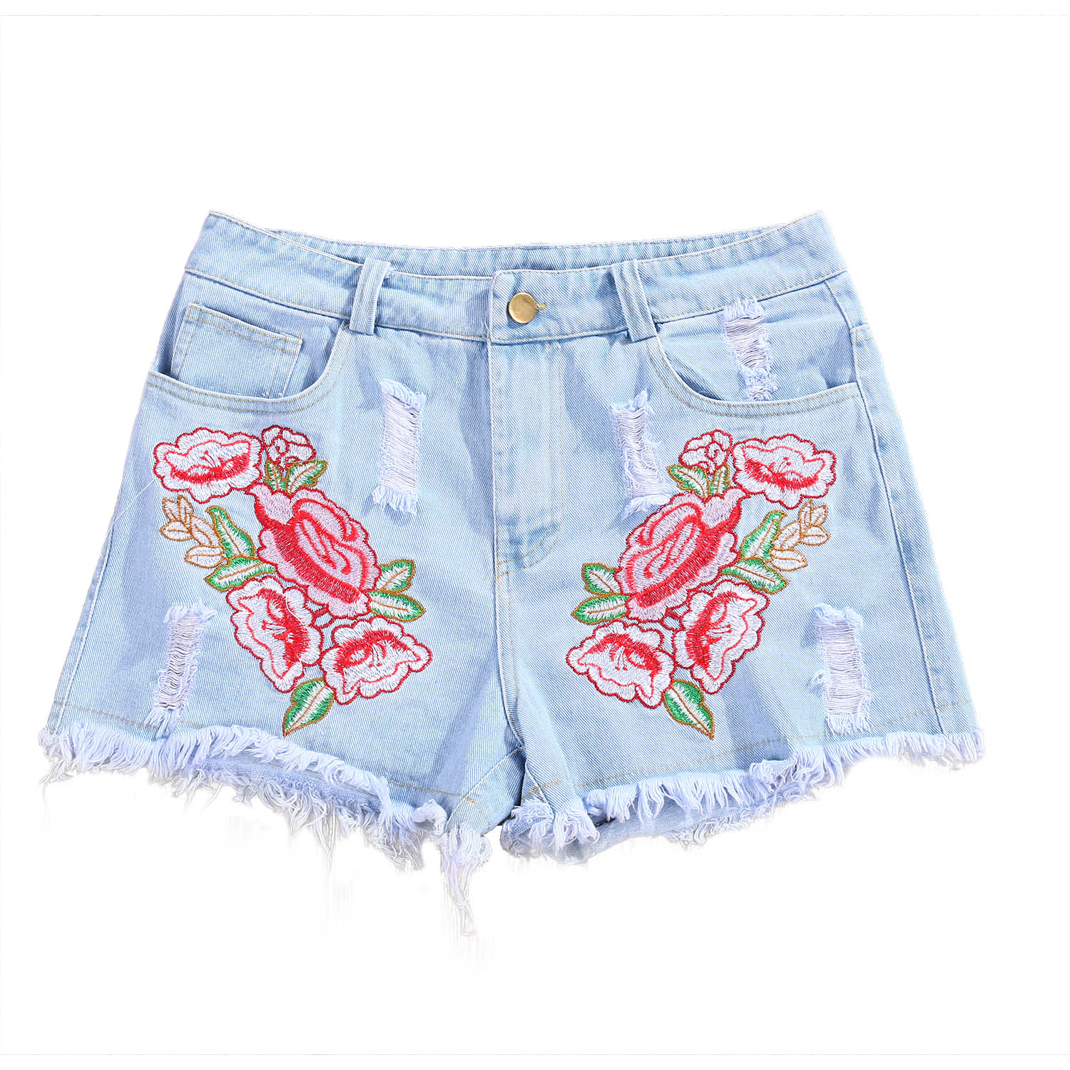 Women High Waisted Denim Shorts Short Jeans Hot Flower New Fashion Women Ladies Shorts Summer Washed