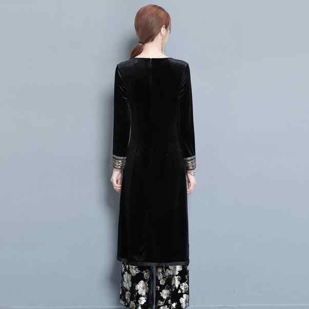 Женский осенне-зимний национальный костюм, Бархатный комплект платья Ципао из двух частей, платье + брюки, тонкий женский костюм со штанами DF234