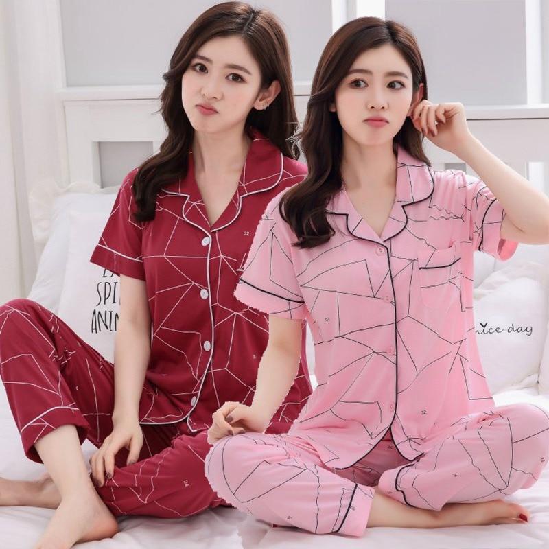 2019 Summer Cotton Print   Pajama     Sets   for Women Short Sleeve Sleepwear Pyjama Long Pants Loungewear Homewear Pijama Mujer Clothes