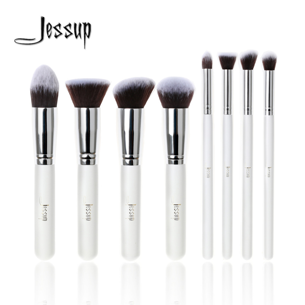 Jessup Brand Professional 8pcs White/Silver Foundation blush Liquid Kabuki brush Makeup Brushes Tools set Beauty Cosmetics kit professional 10pcs blue silver jessup makeup brushes sets beauty kit foundation kabuki precision brush cosmetics make up tools