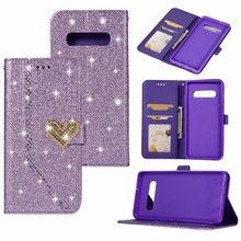 Sparkle Leather Dompet Case untuk Huawei P30 Pro Galaxy J8 2018 S10 Plus S10e Hati Cinta Bling Diamond Glitter Gemerlapan cover 1 Pcs(China)