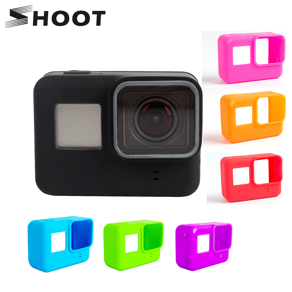 SHOOT Soft Silicone Protective Case for GoPro Hero 7 6 5 Black Sports Cam Mount Case For Go Pro Hero 5 6 Action Camera Accessory