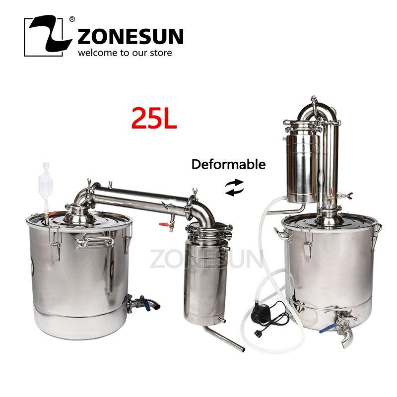 ZONESUN Aço Inoxidável Houshold 25L Destilador Álcool Vinho Cerveja Em Casa Dispositivo/Fabricante de Vinho Inglês Manual + 11 Presentes