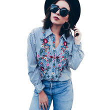 QA575 New long sleeve turn-down collar floral embroidery striped blouse shirt women all-match tops