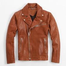 Men's leather jacket coat Sheep skin Oblique zipper short coat Motorcycle jacket