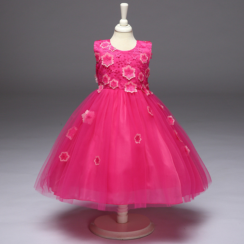 Children's Day Baby Kids Dress For Girls 2 3 4 5 6 7 8 Year Birthday Outfit Dresses Evening Party Formal Wear Floral Dress Cloth new summer pink children dresses for girls kids formal wear princess dress for baby girl 3 8 year birthday party dress