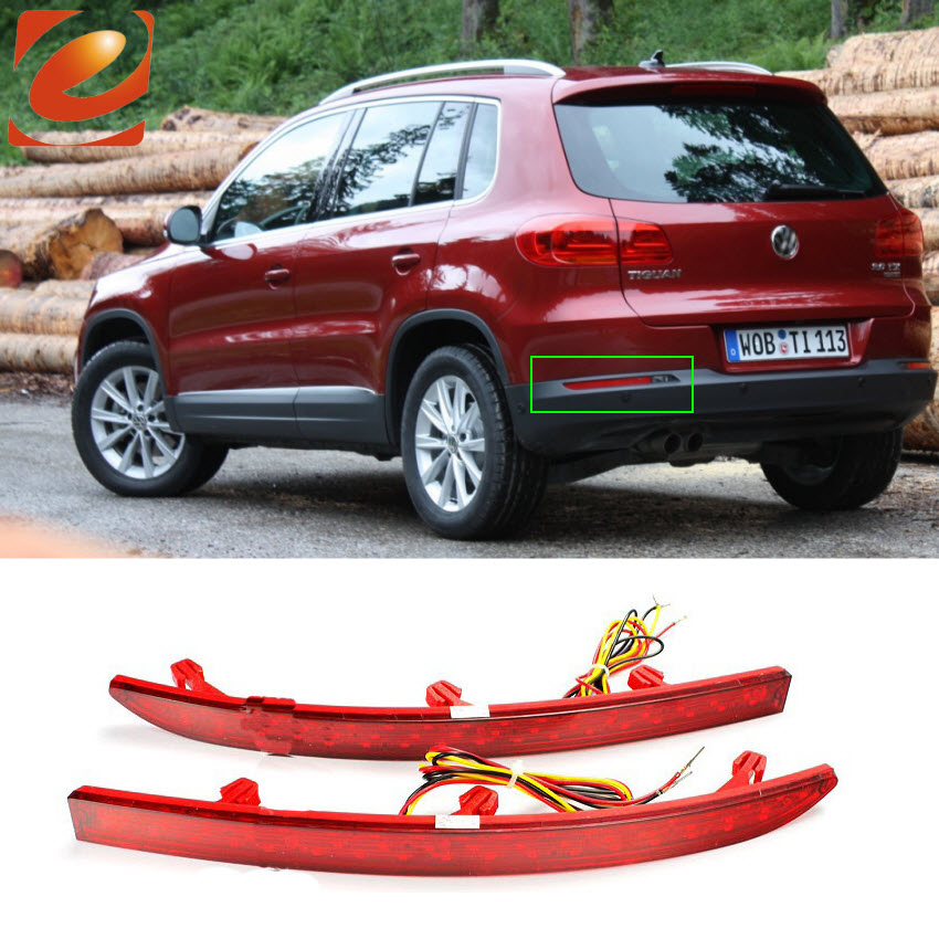 For Volkswagen VW Tiguan 2010 + up High Quality LED Car Reflector Rear Bumper Light Trim Brake Lamp Warning Lights car rear trunk security shield cargo cover for volkswagen vw tiguan 2016 2017 2018 high qualit black beige auto accessories