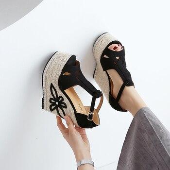 15cm super high heel wedge sandals Muffin thick bottom waterproof platform women's sandals Bohemia small size womens shoes 32,33