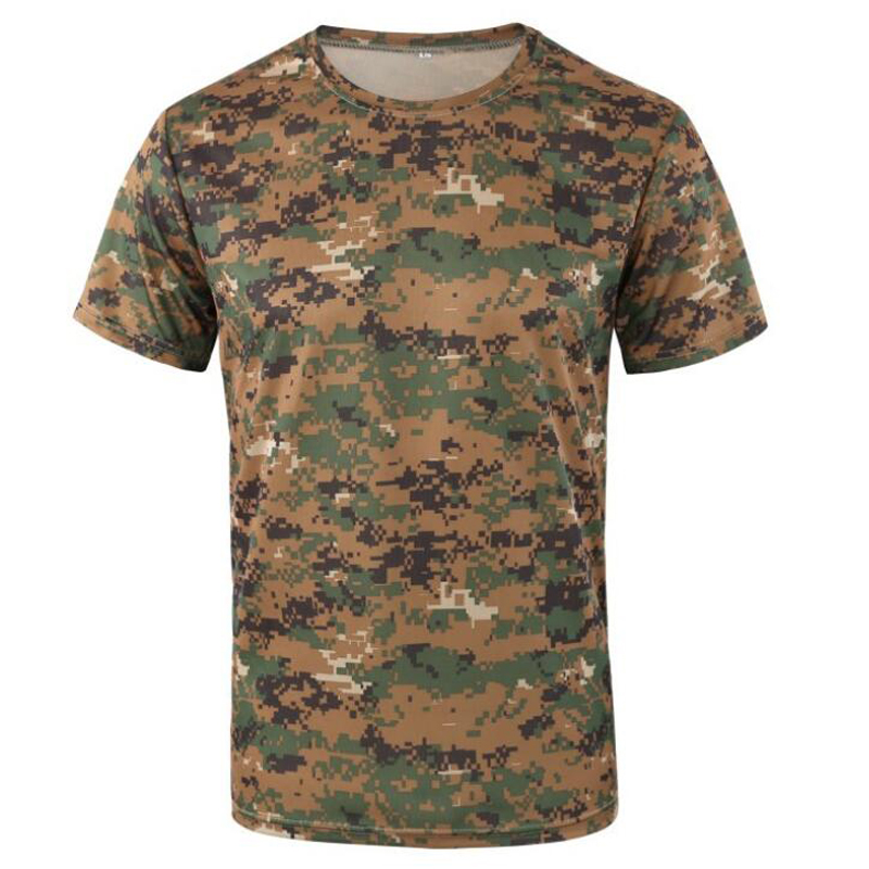 Quick Dry Camouflage T Shirt Men Summer T-shirt Short Sleeve Tee Tops Mens Outdoor Military Tactical Combat Fitness T Shirts