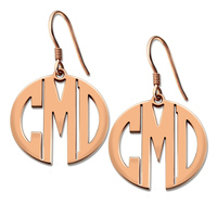 Large Monogram Block Earring Rose Gold Color Personalized Monogram Earrings Name Earrings Monogram Jewelry Gift for Her