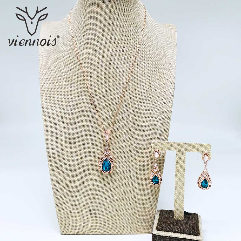Viennois Rose Gold Color Blue Crystal Drop Earrings Necklace Set For Women Geometric Party Jewelry Set 2019Viennois Rose Gold Color Blue Crystal Drop Earrings Necklace Set For Women Geometric Party Jewelry Set 2019
