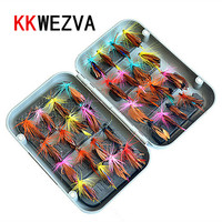 32pcs Boxed Fly Fishing Lure Set Artificial Bait Trout Fly Fishing Lures Hooks Tackle With Box