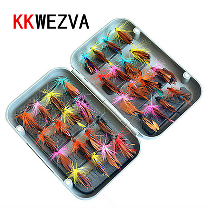KKWEZVA 32pcs Boxed fly fishing lure set Artificial bait trout fly fishing lures hooks tackle with box Butterfly Insect seanlure double layers grid design fishing lure tackle hooks storage case box portable lure fishing box tackle with compartment