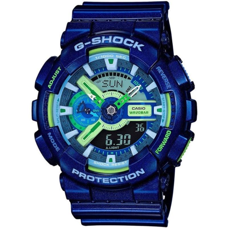 Casio watch G-SHOCK black gold outdoor sport electronic waterproof sports men's watch blue rubber belt GA-110MC-2A Genuine watch casio ga 1100 2a