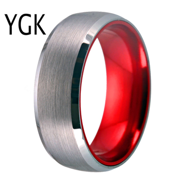 Classic Men's wedding & Engagement Jewelry Red Plated Ring for Women 8mm Tungsten Ring Matte Finished Wedding Anniversary Rings