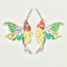 Double Wings Hummingbird Sequins Patches Embroided Ladies Sweater Coat Decoration Sew on Embroidery Stickers DIY Patch Clothing