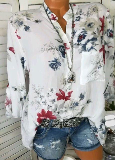 Summer Women Tops Blouses 2019 Autumn Elegant Long Sleeve Print V-Neck Chiffon Blouse Blusa Casual Loose Shirts Plus Size 5XL