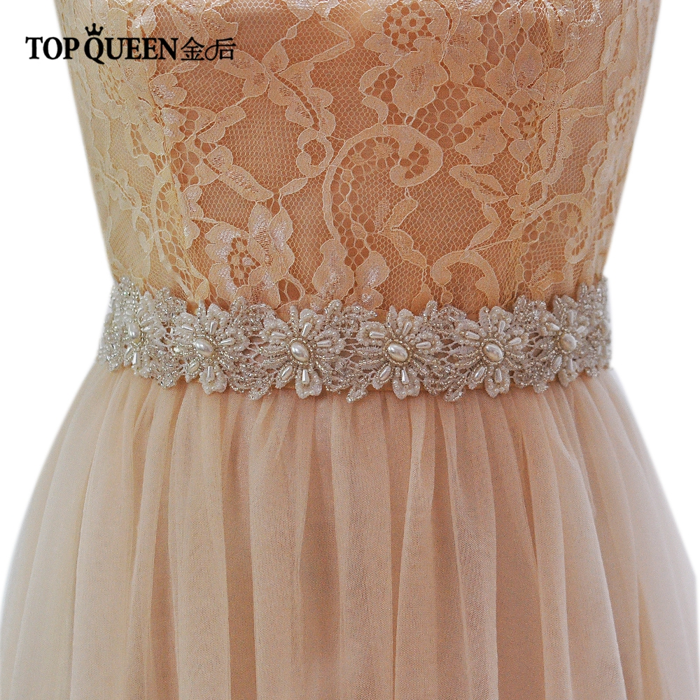 TOPQUEEN S219 Beautiful Pearls Wedding Evening Dress Sash Belts Bridal Bride Belt Sashes For The Party Lace Pearl Belts