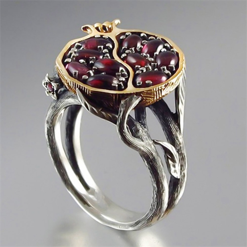 Pomegranate Jewelry Rings Rhinestone-Stone Crystal Gold-Color Natural Vintage Women Round