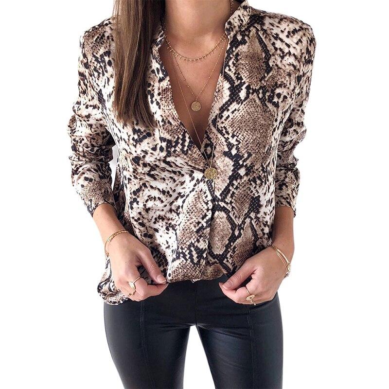 Snake Skin Print Silk Blouse Women Shirts Long Sleeve Tops Female Tunic 2019 Vintage Fall Casual Satin Blouses Snakeskin