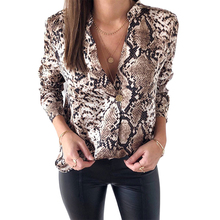 Snake Skin Print Silk Blouse Women Shirts Long Sleeve Tops F