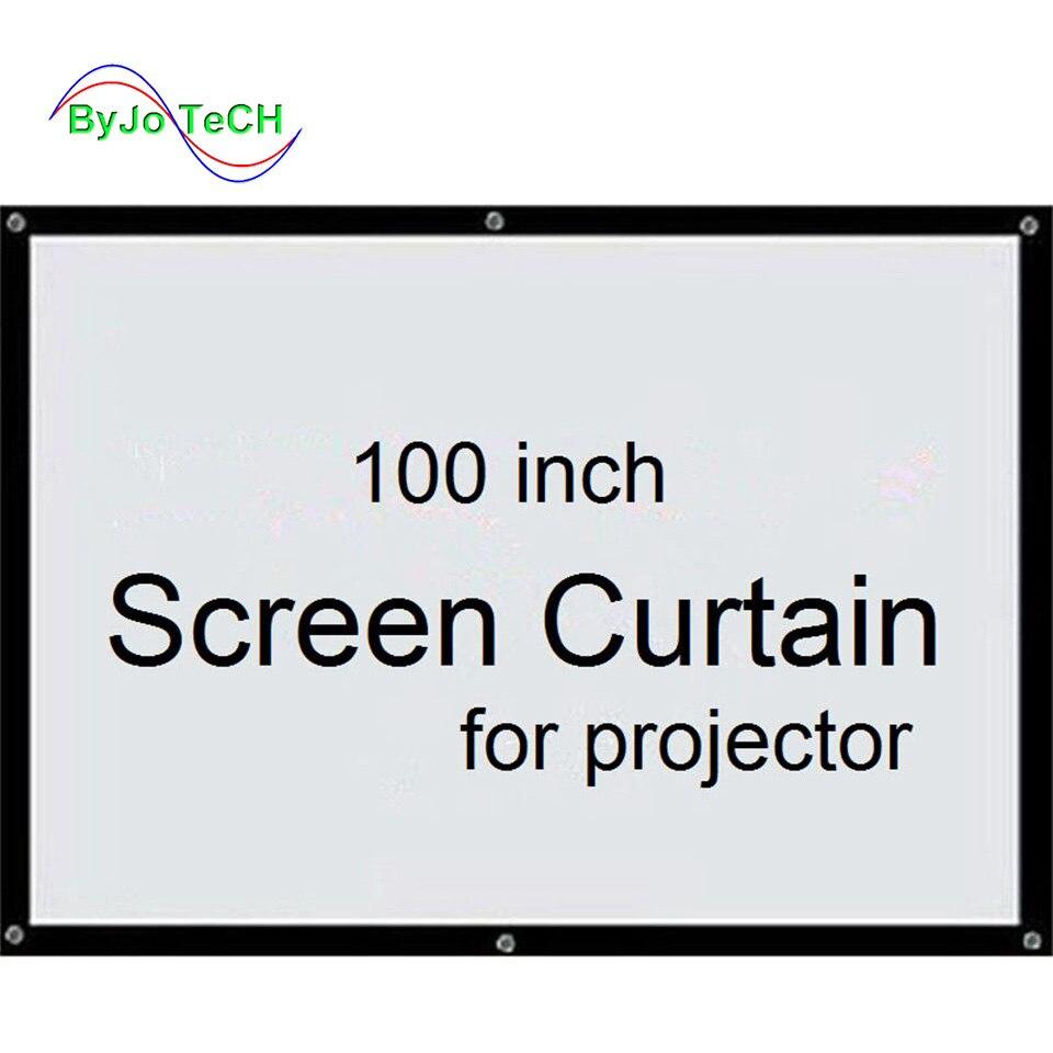 Écran ByJoTeCH Curtain100 pouces 16:9 ou 4:3 projecteur écran HD écran de projection avant tissu avec oeillets pour proyectr