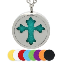 BOFEE 25/30MM Silver Cross Aromatherapy Necklace Stainless Steel Magnetic Essential Oil Diffuser Locket Pendant