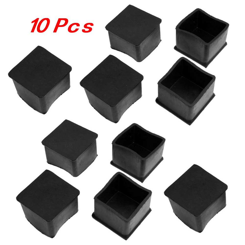 HGHO- 10 Pcs Black Rubber Square 38mm x 38mm Table Chair Leg Protective Foot Cap