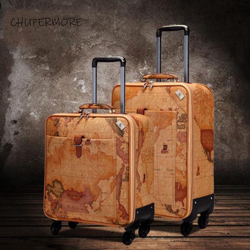 Retro Map PU Leather Rolling Luggage Spinner Men Business Suitcase Wheels 16 inch Women Cabin Password Travel Bags Trelloy