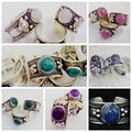 1 Piece Random shipments,Fashion Tibet Silver Lace Nepal Ring Moonstone Crystal Ring Adjustable Unisex charm Random delivery