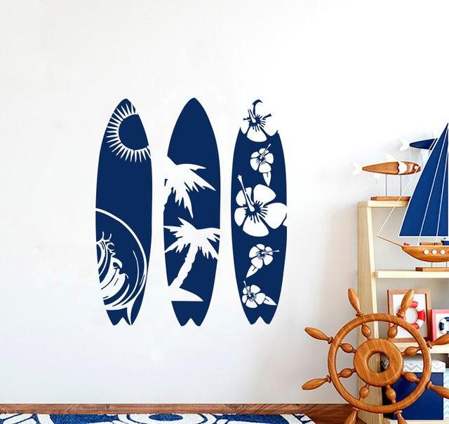 Pegatina de pared de vinilo para tabla de surf, palmeras onduladas para playa, deportes extremos, para adolescentes, dormitorio, decoración de pared para el hogar, 2CL9