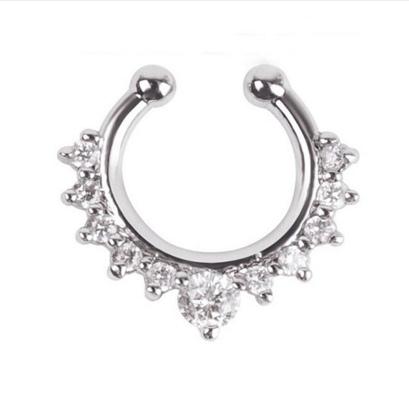 Qevila Crystal Fashion Clicker Fake Septum for Women Body Clip Hoop Vintage Fake Nose Ring Faux Piercing Body Jewelry Wholesale (9)