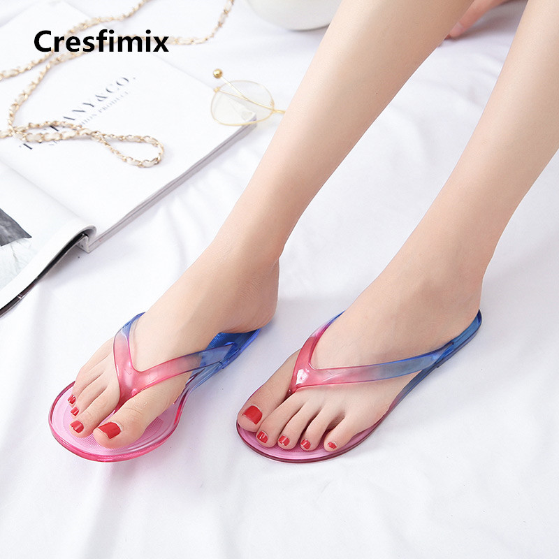 Cresfimix women casual spring & summer yellow flip flops lady cute comfortable flat flip flops female jelly flip flops a270 cute flip flops style usb flash disk yellow white 8 gb href