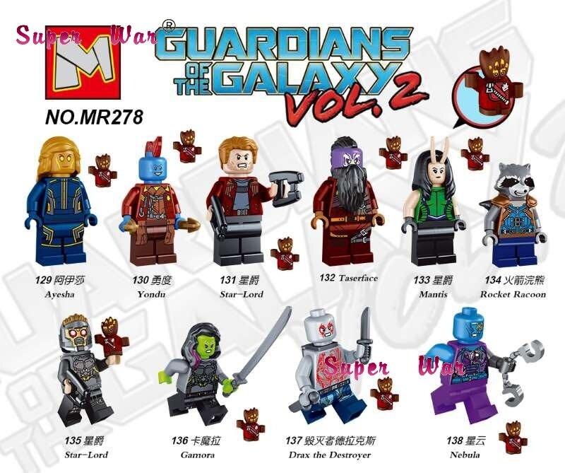1PCS super heroes marvel Guardians of the Galaxy Vol. 2 Rocket Yondu building blocks models bricks toys for children kit