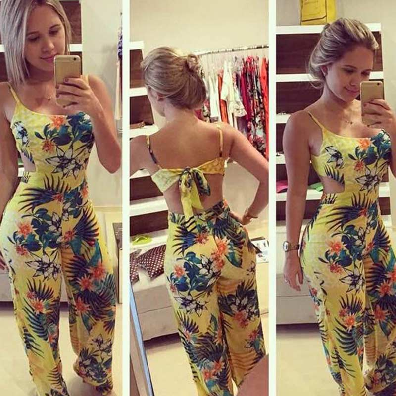 HOT Summer Women Sexy   Jumpsuits   Bowknot Flower Printed Backless Casual Strap Rompers 19ING