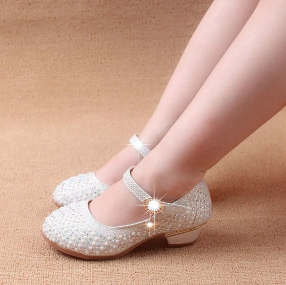 a1ee0b02502 2018 Spring Fall Wedding Flower Girls Pearl Diamond-Studded Princess  High-Heeled Shinning Leather Shoes Child Single Shoes G127