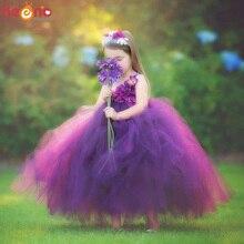 Borgogna Ortensia Fiore Tutu Delle Ragazze Dei Bambini del Vestito Da Sposa Jr. Damigella Donore di Tulle Capretti del Vestito Puntello della Foto Di Compleanno Del Partito Dellabito di Sfera
