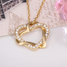 USTAR Rose Gold color Genuine Austrian Crystals Heart Pendants Necklaces women Jewelry Fashion Necklace for Women