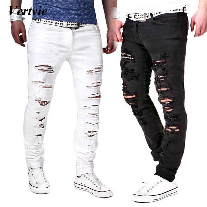 100% Wahr Vertvie 2018 Mode Mittlere Taille Kreuz Hosen Männer Jeans Solide Ripped Betrübt Gewaschen Loch Kühle Hosen Dünne Baumwolle Hose